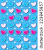 Bright blue background has 3D hearts surrounded by tiny, cream colored pearls.  White polka dots are outlined in blue and pink. - stock photo