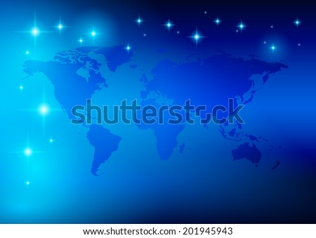 bright blue background - world map with stars