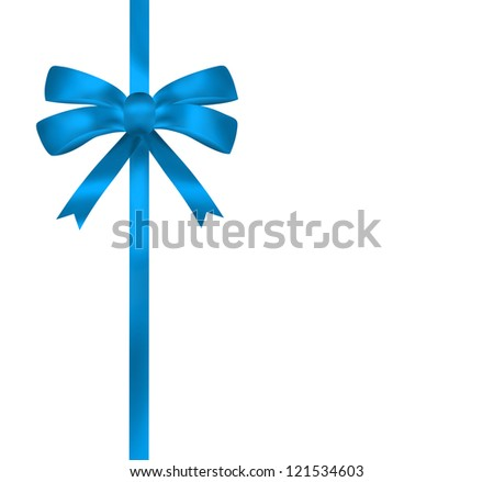 Bright blue ribbon illustration on white background