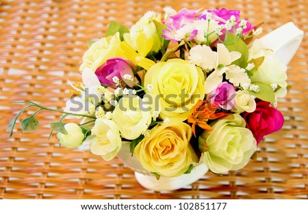 Bright bouquet of fabric flower