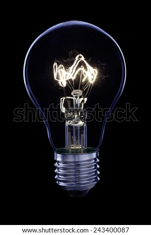 Bright bulb on a black background