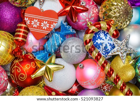 Bright Christmas tree decorations and toys