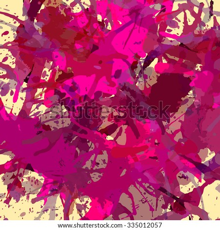 Bright colorful dark pink artistic paint splashes, square format.