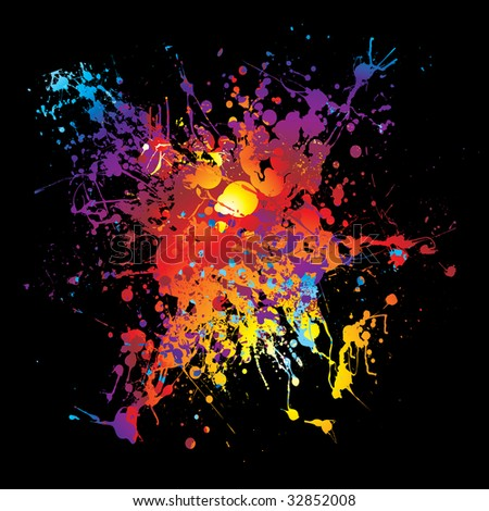 Bright colorful grunge ink splat with black background