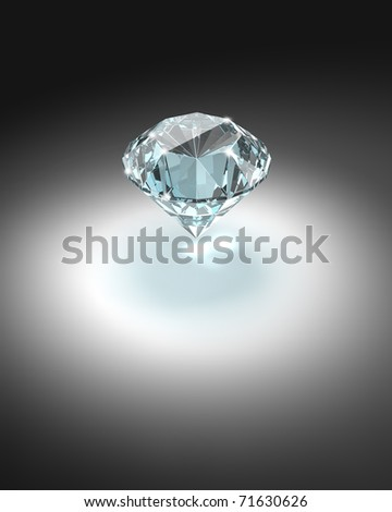 Bright diamond on dark background - 3d render image.