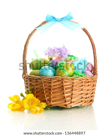 Basket colored easter eggs tulips on stock photo 97850966 bright easter eggs with bows in basket isolated on white negle Choice Image