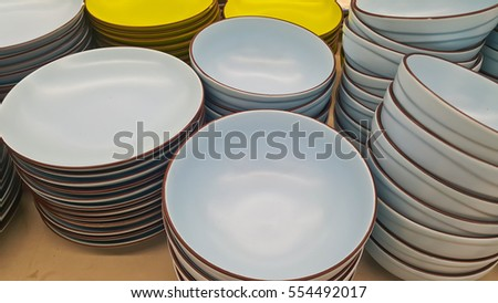 bright empty bowls, cups and plates (Kitchenware)