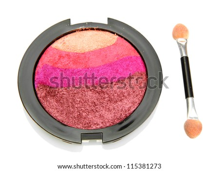 bright eye shadow and applicator, isolated on white