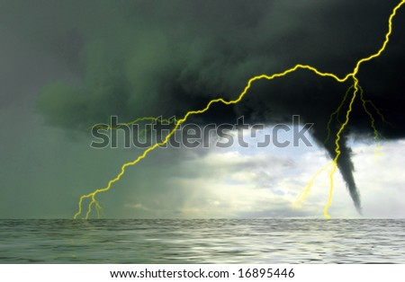 Bright flash of lightning above the quiet surface of ocean. Water spout growing into the powerful, dark thunderstorm cloud.