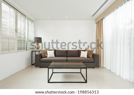 Bright Living room with grey sofa and minimalistic decoration