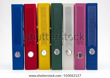 Bright office folders isolated on white background.