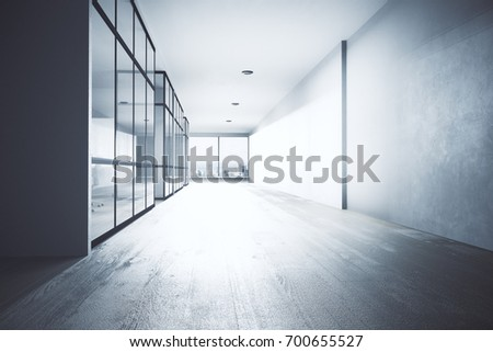 office hallway. bright office hallway interior with equipment city view and daylight 3d rendering