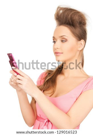 bright picture of beautiful woman with cellphone