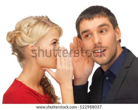 bright picture of man and woman spreading gossip (focus on man)