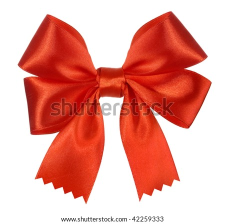 Bright red bow isolated over white background