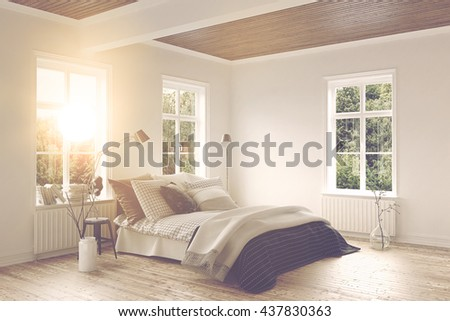 Bright warm sunlight shining in through the window into a modern bedroom interior with a double bed, wooden floor and fresh white walls. 3d Rendering.