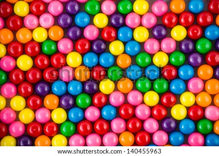 Brightly Colored Gum Balls Laying Flat Stock Photo
