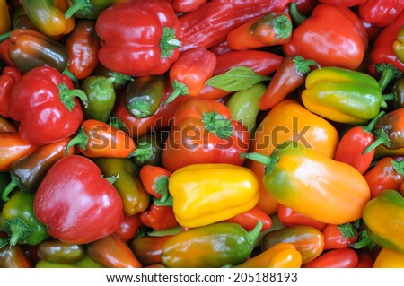 Brightly colored peppers at a farmer's market