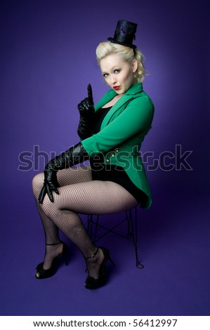 Brightly colored picture of lovely girl in tiny top hat