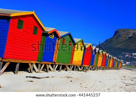 Brightly coloured Victorian beach houses