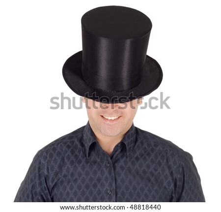 Brightly pictures of cheerful man in top hat (cylinder)