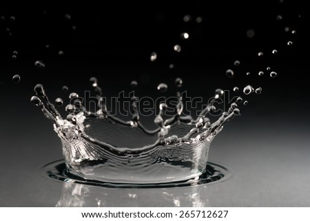 brilliant drops transparent water on black background