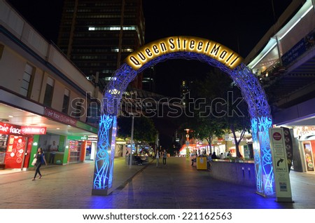 BRISBANE, AUS - SEP 25 2014: Visitors at Queen Street Mall at night. It is a pedestrian mall with more than 700 retailers with six major shopping centres. It receives over 26 million visitors each year