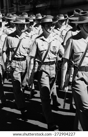 BRISBANE, AUSTRALIA - APRIL 25 : 2nd field hospital marching  during Anzac day centenary commemorations April 25, 2015 in Brisbane, Australia