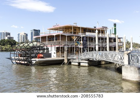 BRISBANE, AUSTRALIA - AUGUST 1 2014: The Kookaburra River Queen Paddlewheeler is an icon on the Brisbane River. Crafted mainly from Queensland timbers, they played a major role in World Expo 88
