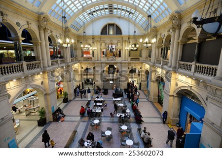 BRISTOL - JAN 11: View of the hall used as a cafe and restaurant in Bristol Museum on Jan 11, 2015 in Bristol, UK. Bristol Museum has exhibits in fields such as science, art and natural history.