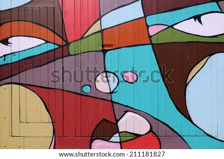 BRISTOL - MAR 24: View of a cubist graffiti piece by an unidentified artist on a building doorway in the city centre on Mar 24, 2011 in Bangkok, Thailand. Bristol is renowned for its street art scene.