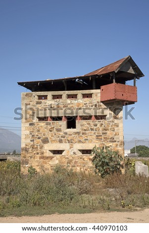 BRITISH BLOCKHOUSE WELLINGTON WESTERN CAPE SOUTH AFRICA - APRIL 2016 - A British blockhouse made of prefabricated stone with steel gunports has stood in the town of Wellington since the Anglo Boer War