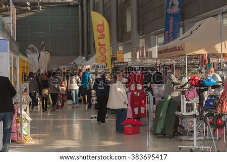 BRNO, CZECH REPUBLIC - FEBRUARY 7,2016: People showing pet products on International dog show Duo CACIB On February 7,2016 in Brno in Czech Republic.