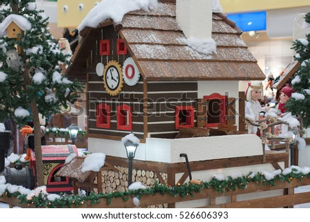 BRNO,CZECH REPUBLIC-NOVEMBER 19,2016:Wooden house with elfs and angels in shopping center Olympia on November 19, 2016 Brno, Czech Republic