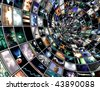 Broadcast Tunnel created entirely with images created by me and any human figures were created entirely with software and do no need a model release - stock vector