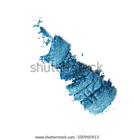 broken blue eyeshadow on white background
