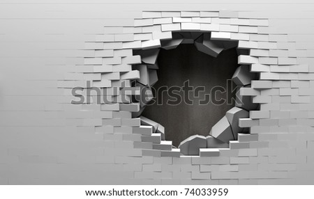 Broken Brick Wall with Metal Plate Behind