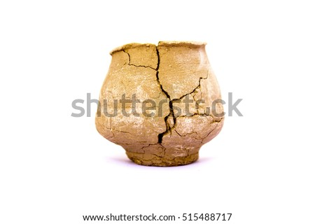 Broken clay pot isolated on white background.