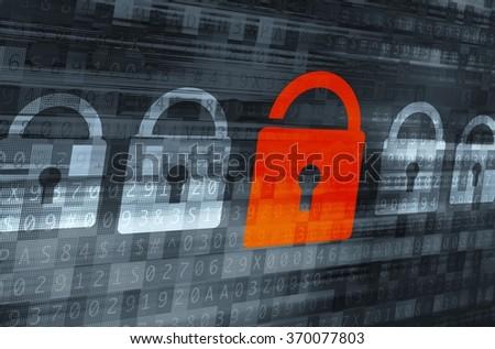 Broken Internet Data Encryption Concept Illustration. Red Open Padlock Alert Icon. Internet and Networks Data Safety.