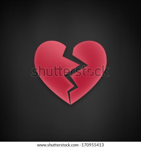 Broken Heart Flat Icon Red Color Stock Vector 451396927