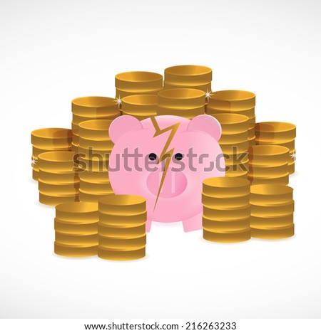 broken piggy bank and coins illustration design over a white background