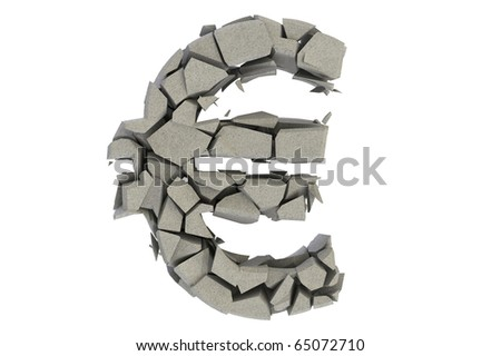 Broken stone euro currency symbol isolated on white