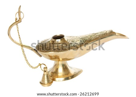 Bronze or golden oil lamp. Isolated on white