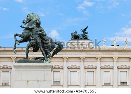 Bronze sculpture in front of the house of parliament in Vienna, Austria