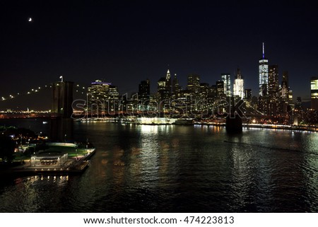 Brooklyn Bridge and Manhattan in night view