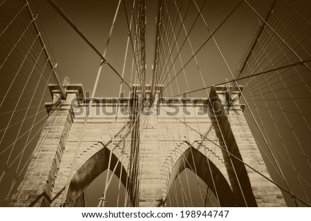 Brooklyn Bridge (New York City, USA). Processed as a vintage photo.