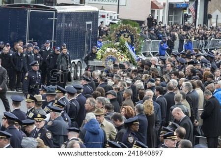 Brooklyn, NY - January 04, 2015: Atmosphere outside Aievoli Funeral Home for the funeral of slain New York City Police Officer Wenjian Liu
