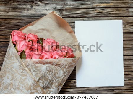 brown paper bag background flwers bouquet gift wrapped pink roses symbolic stock photo 397459045
