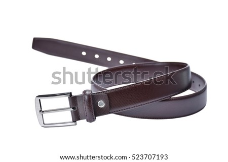 Brown belt isolated on white background.