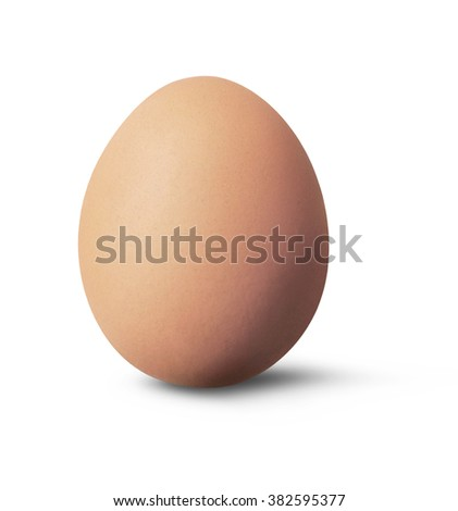 Brown egg standing, isolated on White